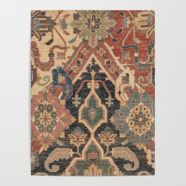 Geometric Leaves I // 18th Century Distressed Red Blue Green Colorful Ornate Accent Rug Pattern Poster