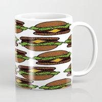 hamburger Mugs featuring Hamburger by nsvtwork
