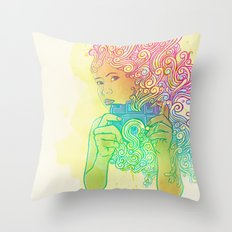 Doodle shot Throw Pillow