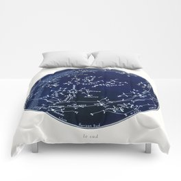 French July Star Maps in Deep Navy & Black, Astronomy, Constellation, Celestial Comforters