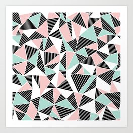 AbLines with Blush Mint Blocks Art Print