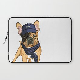 Cute puppy pug in baseball hat and scarf. Laptop Sleeve