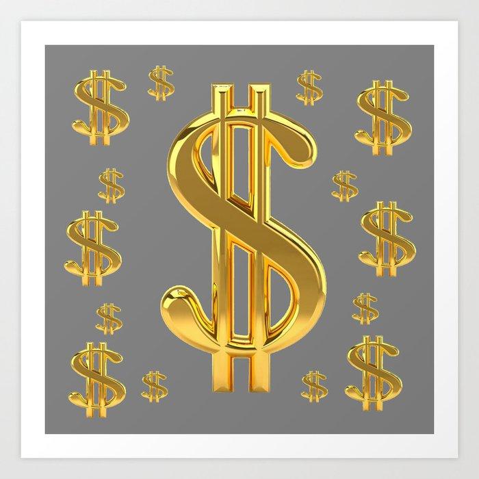 Golden Money Dollars Charcoal Grey Pattern Modern Art Art Print By Sharlesart