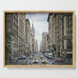 NEW YORK CITY 5th Avenue Street Scene Serving Tray