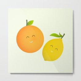 Happy Orange and Lemon Metal Print
