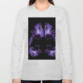 A Purple Hibiscus On Black Long Sleeve T-shirt