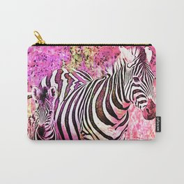 Crazy Zebras Artsy Mixed Media Art Carry-All Pouch