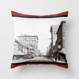 The Streets Of Birmingham Alabama - Vintage Americana Throw Pillow