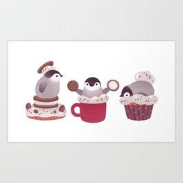 Cookie & cream & penguin Art Print