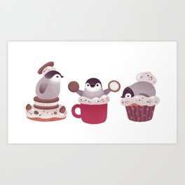 Cookie & cream & penguin Kunstdrucke