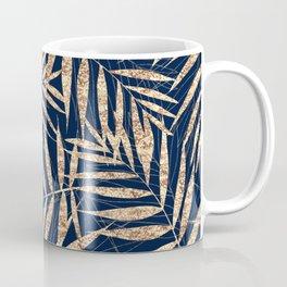 Elegant Gold Tropical Palm Leaves Blue Design Coffee Mug