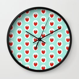 Strawberry fruit tropical mint nature food fresh pattern design geometric berries children farming  Wall Clock