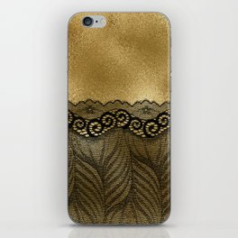 Black floral luxury lace on gold effect metal background iPhone Skin