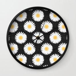 Spring Daisies_Black Wall Clock