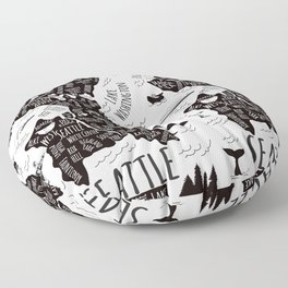 Seattle Illustrated Map in Black and White - Repeat Floor Pillow