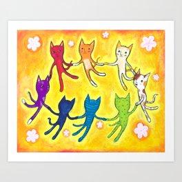 Cat party Art Print
