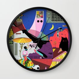 Pita snail and porch cat meet the ghost merchant Wall Clock