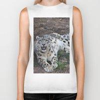 snow leopard Biker Tanks featuring Snow Leopard by Kaleena Kollmeier