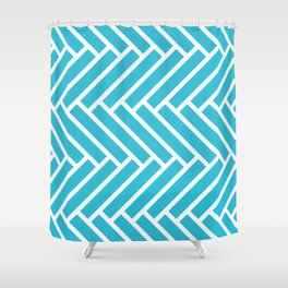 Blue and white herringbone pattern Shower Curtain