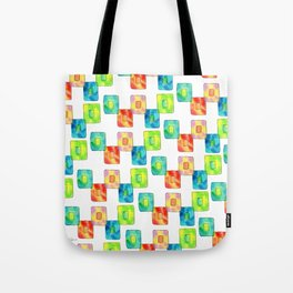 BE YOU AND IT'S OK square pattern inspirational quote abstract painting colorful illustration Tote Bag