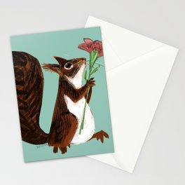 Squirrel with a flower Stationery Cards