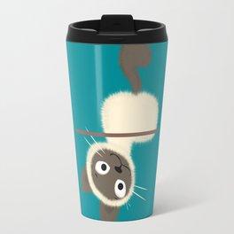 Funny Siamese Kitten upside down Travel Mug