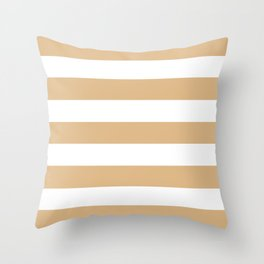 Burlywood - solid color - white stripes pattern Throw Pillow