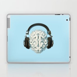 Mind Music Connection /3D render of human brain wearing headphones Laptop & iPad Skin