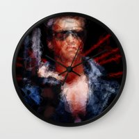 terminator Wall Clocks featuring The Terminator by Alice Z.