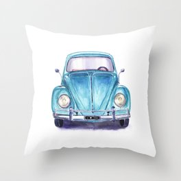 Vintage blue car Throw Pillow