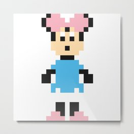 Minnie Mouse Pixel Character Metal Print