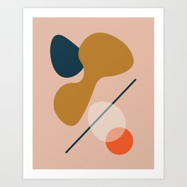 Abstract # 5 Beige Blue Orange Art Print