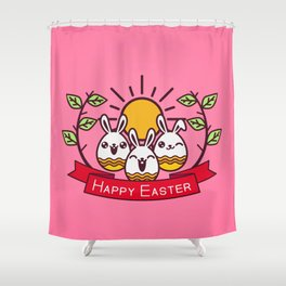 Happy Easter Happy Bunnies Shower Curtain