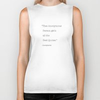 anonymous Biker Tanks featuring Anonymous by Word Quirk