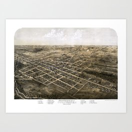 Birds eye view of the city of Coldwater, Michigan - 1868 Art Print