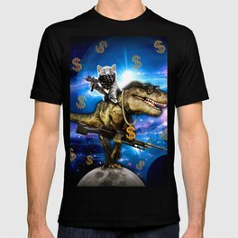 Cat Kitty Travel through Galaxy on Dinosaur T-rex with Guns and Golden chains Swag money dollars T-shirt