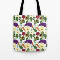 vegetables Tote Bags featuring vegetables by Aina Bestard