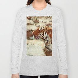 Warm colored Animal swimming tiger Long Sleeve T-shirt