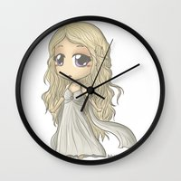 mother of dragons Wall Clocks featuring Mother of Dragons by ScottyTheCat