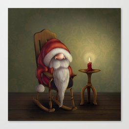 New edit: Little Santa in his rocking chair Canvas Print