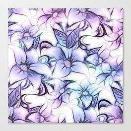 Violet pink teal hand painted sketch elegant floral Canvas Print