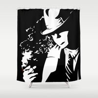 noir Shower Curtains featuring Noir by Solano