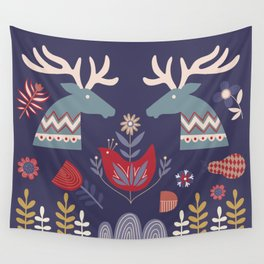 REINDEER AND FLOWERS Wall Tapestry