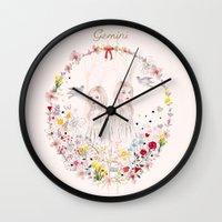 gemini Wall Clocks featuring Gemini by Danse de Lune