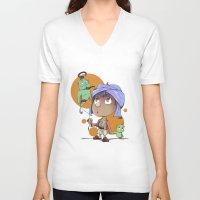 aladdin V-neck T-shirts featuring Cute Aladdin by EY Cartoons