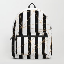 Black and White Stripes Gold Geometric Pattern Backpack