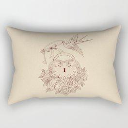 Old school True Love Lock and Key line work tattoo Rectangular Pillow
