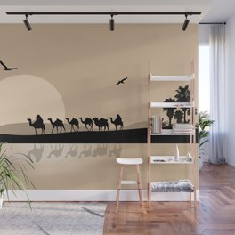Camel Caravan going through the Desert Wall Mural