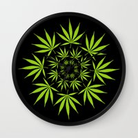 cannabis Wall Clocks featuring Cannabis Leaf Circle (Black) by The Image Zone