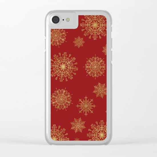 Assorted Golden Snowflakes Clear iPhone Case